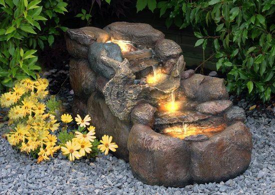 Arnusa Gartenbrunnen »Wasserfall Bachlauf BK824 Springbrunnen«, 93,00 cm Breite, (Komplett-Set), mit LED Beleuchtung