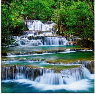 Artland Glasbild »Tiefen Wald Wasserfall«, Gewässer (1 Stück)