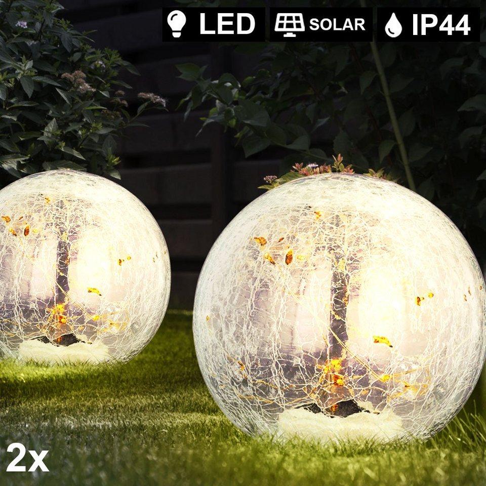 LED Steck Leuchte Marmor-Optik weiß Außen Terrassen Erdspieß Kugel Lampe SOLAR