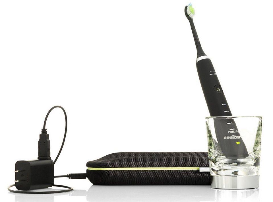 Philips Sonicare Schallzahnbürste DiamondClean HX9352/04, mit Ladeglas & USB-Reiseetui in schwarz