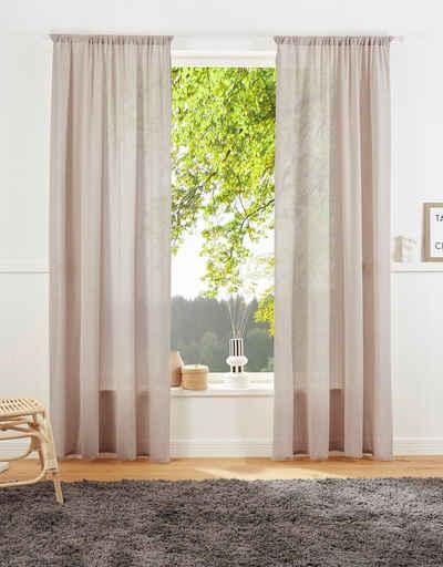 Vorhang »Lanea«, LeGer Home by Lena Gercke, Stangendurchzug (1 Stück), Leinenoptik, halbtransparent