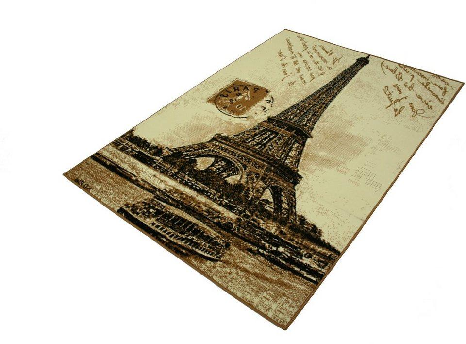Designteppich »Eifelturm Paris«, Hanse Home, rechteckig, Höhe 9 mm, romantischer Stil in beige