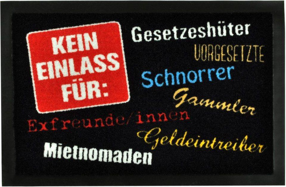 Fußmatte »Kein Einlass für«, rutschhemmend beschichtet, Hanse Home, Motiv-Druck, strapazierfähig in Schwarz