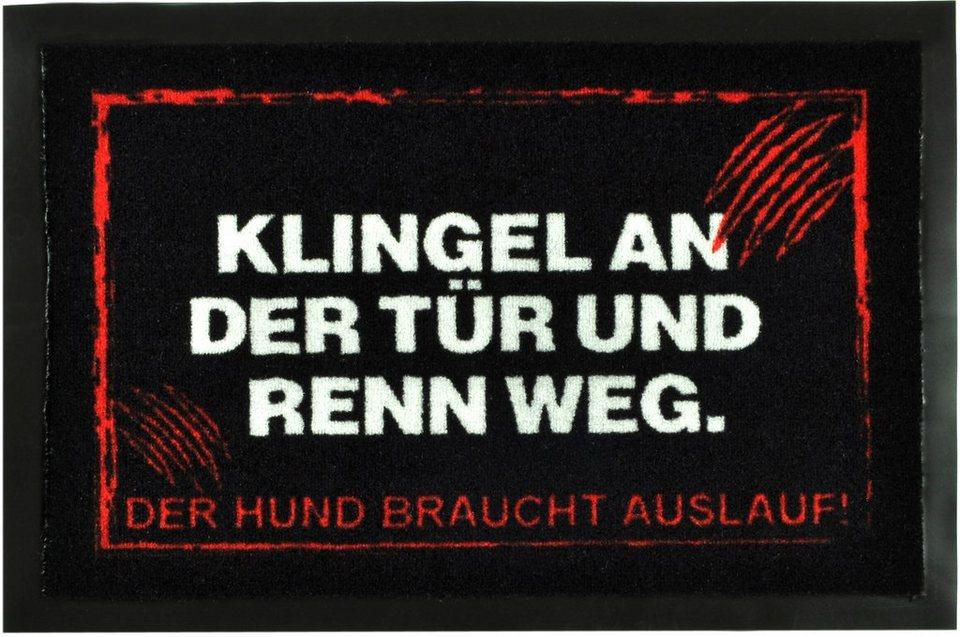 Fußmatte »Klingel an der Tür«, rutschhemmend beschichtet, Hanse home in Schwarz