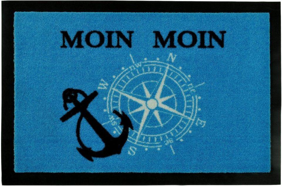 Fußmatte »Moin Moin«, Hanse Home, rechteckig, Höhe 7 mm in blau