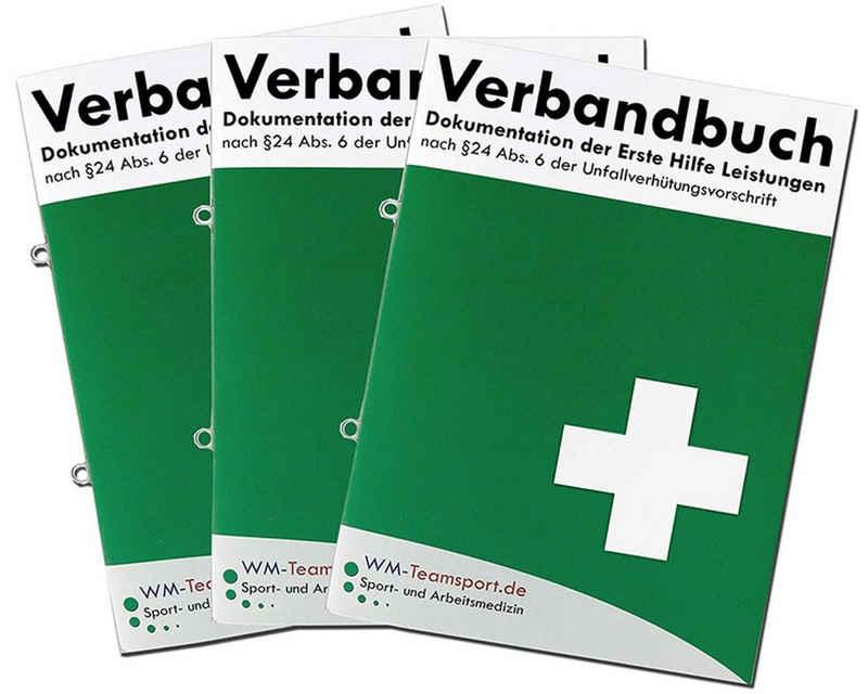 WM-Teamsport Pflaster »3er Pack Verbandbuch Erste Hilfe - Heraustrennbare Seiten mit Ringösen - Meldeblock« (3 Stück)