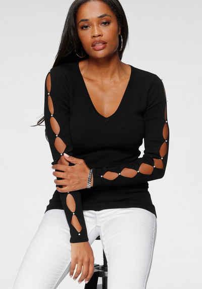 Melrose V-Ausschnitt-Pullover mit Cut-Outs und Perlen