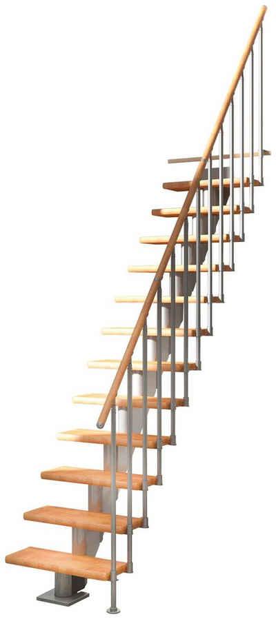 Dolle Mittelholmtreppe »Frankfurt Buche 65«, für Geschosshöhen bis 301 cm, Stufen offen, Metallgeländer, versch. Ausführungen