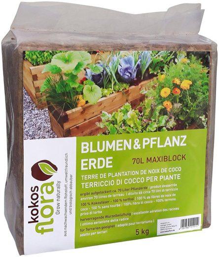 Floragard Pflanzerde »Kokosflora«, (1-St), Maxi Block ergibt aufgelockert 70 Liter