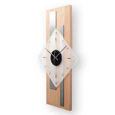Kreative Feder Wanduhr »Modern Rechteck« (Wanduhr, Modern, Aluminium, Holz, Wanddeko, Funkuhr, Quarzuhr, leise/kein Ticken, Holz, Holzoptik, Holzstruktur, WEH001)