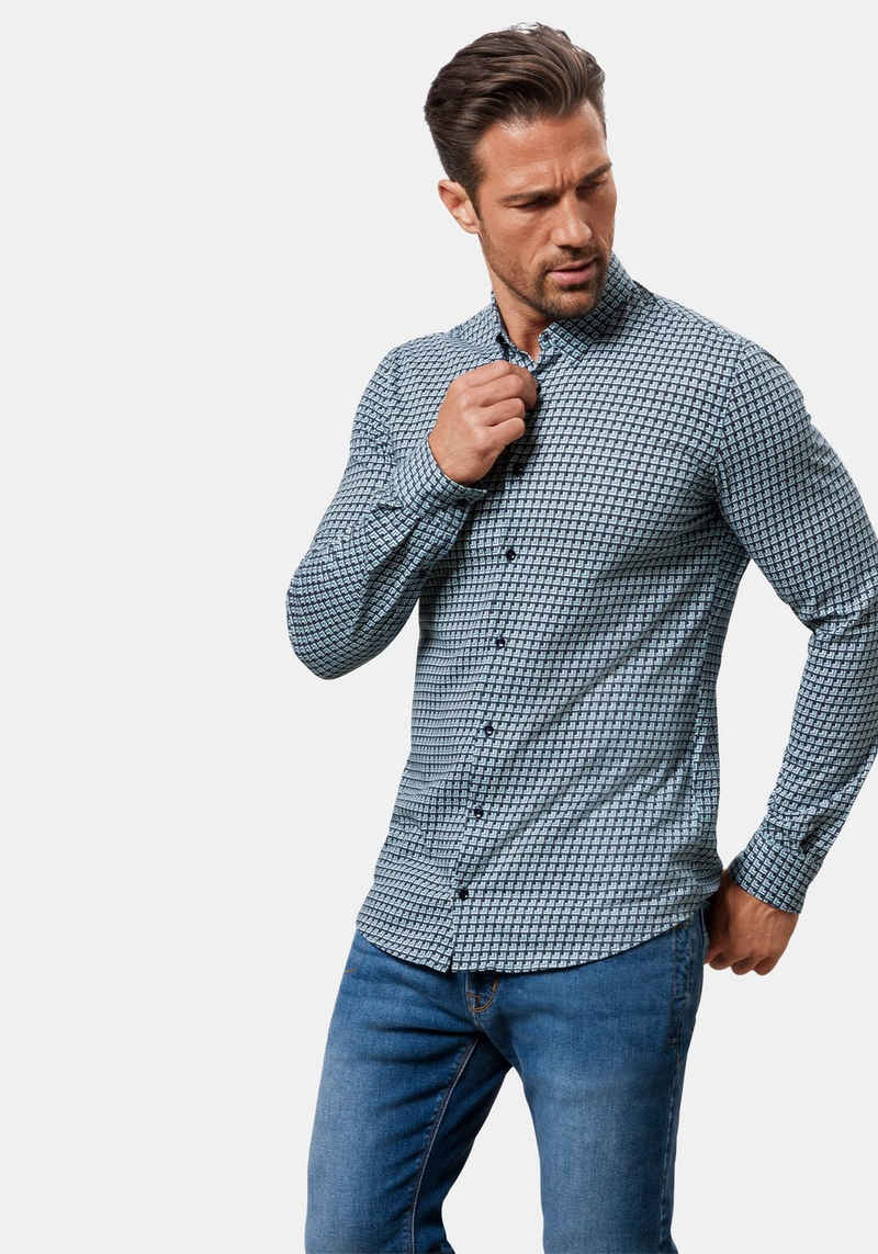 Pierre Cardin Langarmhemd »Jersey-Hemd mit Print«
