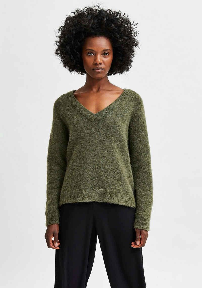 SELECTED FEMME V-Ausschnitt-Pullover »SLFLULU« aus kuscheliger Wollmix-Qualität