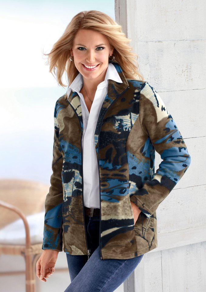 Classic Basics Fleece-Jacke mit Umlegekragen in blau-gemustert