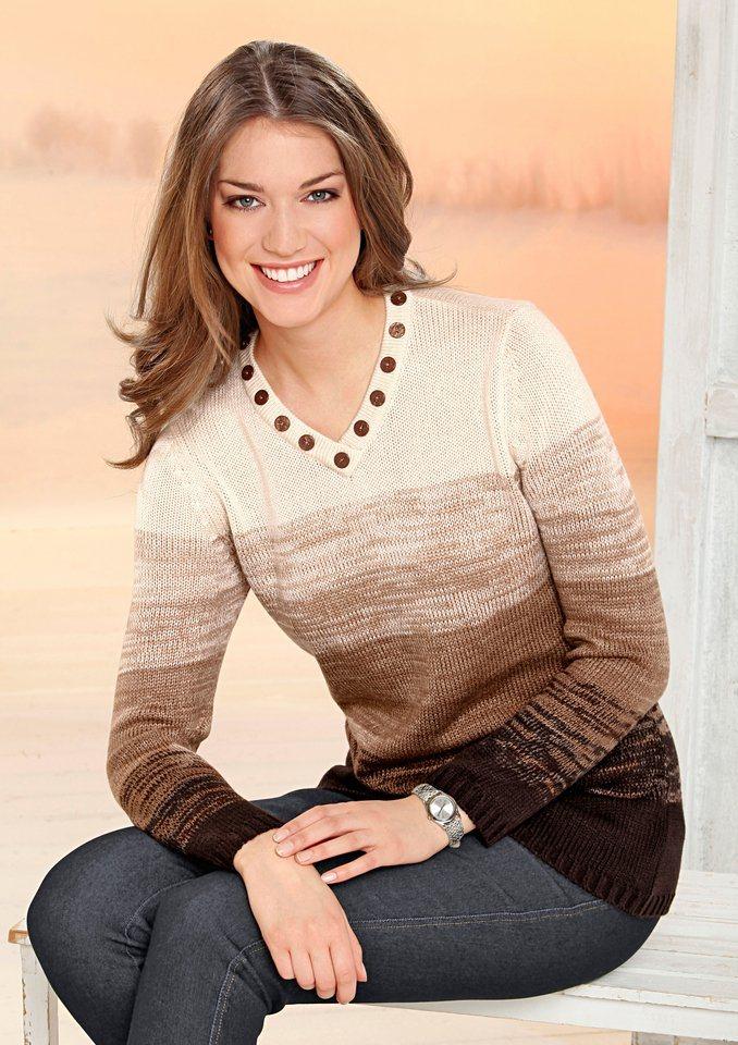 Classic Basics Pullover mit Zierknöpfchen in braun-sand