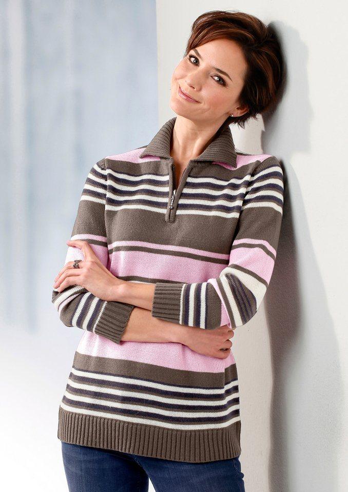 Classic Basics Pullover mit Troyerkragen in taupe-rosé-geringelt