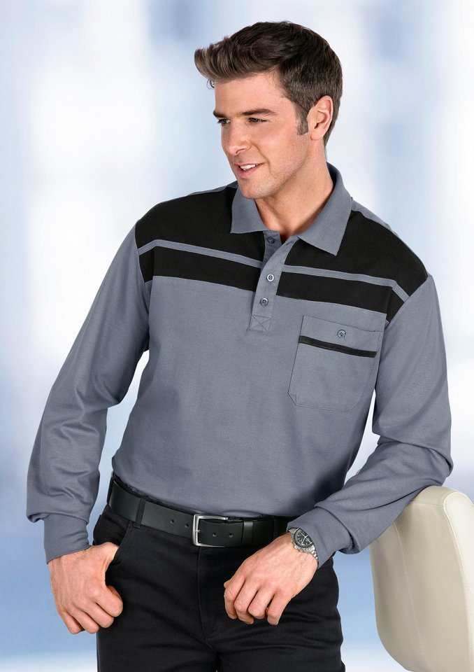 Classic Basics Poloshirt mit Passe und Streifen im Vorderteil in grau-schwarz