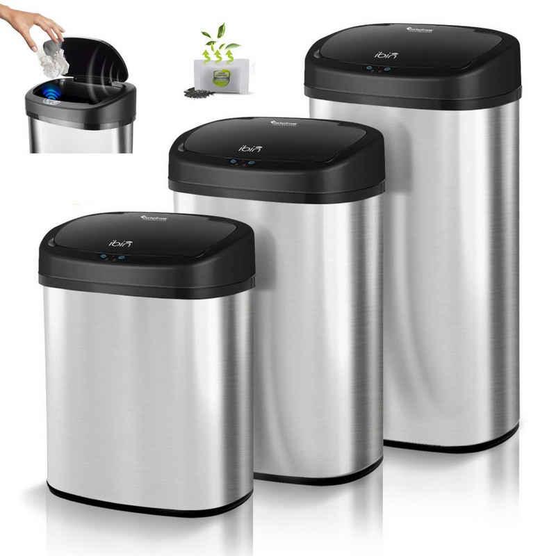 TurboTronic by Z-Line Mülleimer »Sensor Mülleimer in 38L, 48L oder 58L«, Batterie- und Netzbetrieb, Geruchsfilter, Automatik Abfalleimer, Müllbehälter Edelstahl