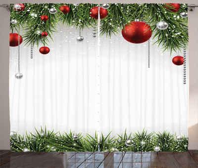 Gardine »Schlafzimmer Kräuselband Vorhang mit Schlaufen und Haken«, Abakuhaus, Weihnachten Baum Balls Ornaments