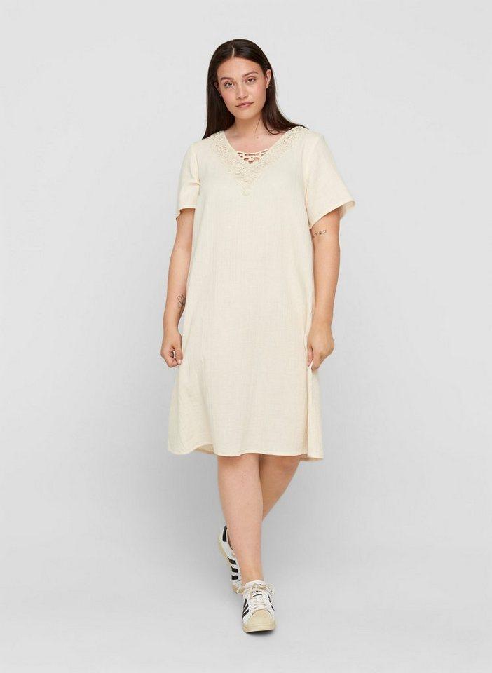 zizzi -  Sommerkleid Große Größen Damen Kurzarm Kleid aus Baumwolle mit V-Ausschnitt und Stickerei