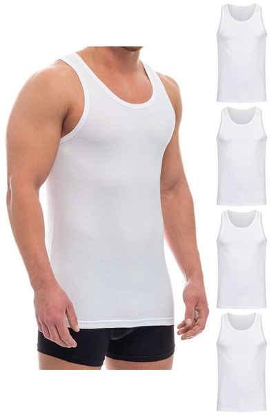 Barrio 13 Unterhemd »Tank Top Achselshirt für Herren« (4 Stück), Feinripp aus 100% Baumwolle