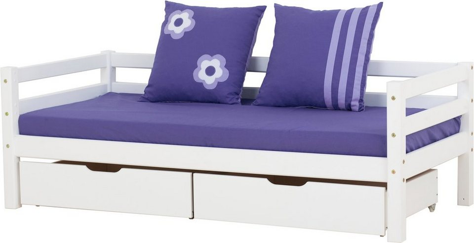 Sofabett, Hoppekids, »Purple Flower« in weiß