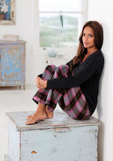 LASCANA Karierter Pyjama mit kuscheliger Flanellhose