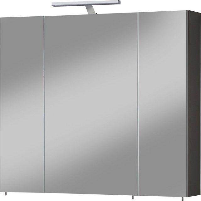 Spiegel - Schildmeyer Spiegelschrank »Torino« Breite 80 cm, 3 türig, LED Beleuchtung, Schalter Steckdosenbox, Glaseinlegeböden, Soft Close, Made in Germany  - Onlineshop OTTO