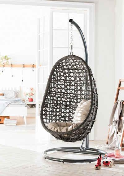 Destiny Hängestuhl »Coco«, Kunststoff, grau, inkl. Sitz- und Rückenkissen