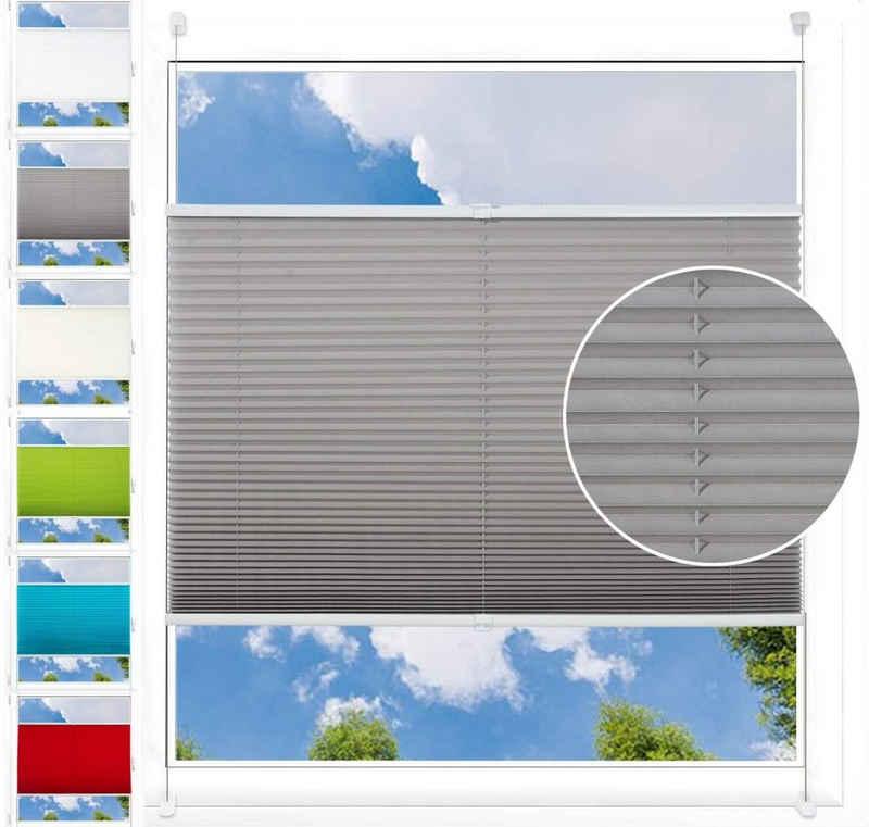 Plissee, Woltu, Lichtschutz, Plissee Klemmfix ohne Bohren für Fenster & Tür Crushed Optik, Blickdicht verdunkelt, easyfix & verspannt, Sichtschutz Sonnenschutz, Grau