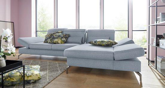 sit&more Ecksofa, Fußhöhe 15 cm, inklusive Sitztiefen-, Armteil- und Kopfteilverstellung