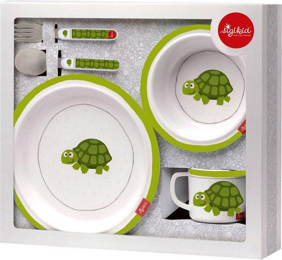 Sigikid Kindergeschirr-Set »Schildkröte«, Melamin, Edelstahl