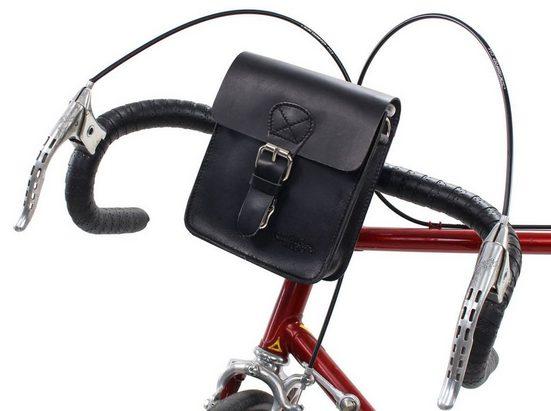 Gusti Leder Lenkertasche »Cadel E.«, Lenkertasche Umhängetasche Gürteltasche Bauchtasche Fahrradtasche Tasche Ledertasche Vintage Braun Leder