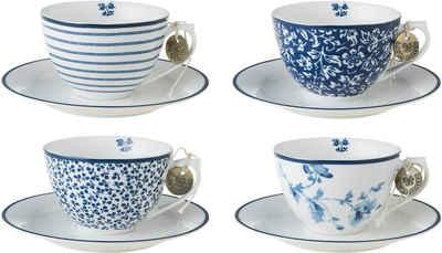 LAURA ASHLEY BLUEPRINT COLLECTABLES Cappuccinotasse »Mix Designs China Rose, Sweet Allysum, Floris, Candy Stripe«, Porzellan, 4 Tassen, 4 Untertassen
