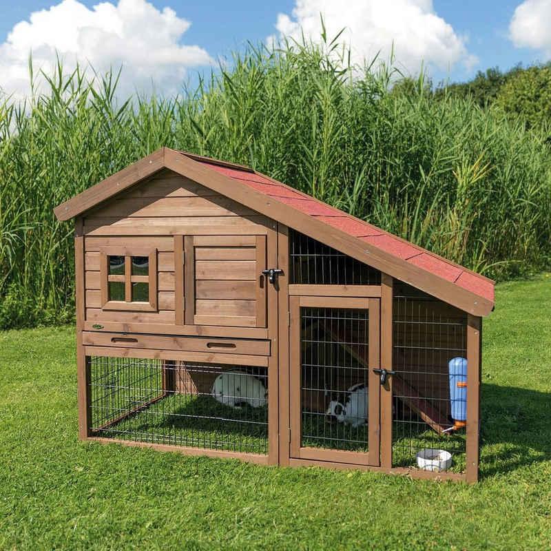 TRIXIE Kleintierstall »Natura Kaninchenstall Schrägdach Freigehege«