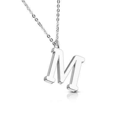 BUNGSA Kette mit Anhänger »Kette Buchstaben Anhänger Silber Edelstahl Damen« (inkl. Schmuckbeutel aus Organza), Halskette Necklace