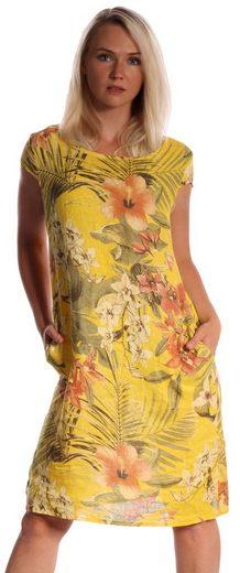 """Charis Moda Sommerkleid »Leinenkleid """" Bellezza del Giardino """" in vielfältigem Farbspiel«"""