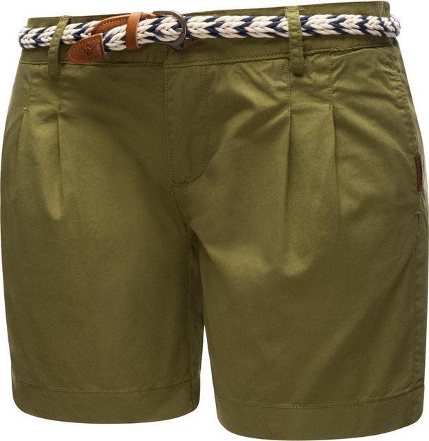 Hosen - Ragwear Shorts »Tetto Organic« (2 tlg) leichte kurze Baumwollhose mit modischem Flechtgürtel › grün  - Onlineshop OTTO
