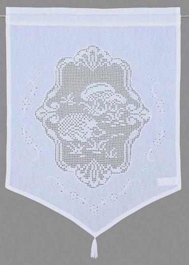 Scheibengardine »Igel«, HOSSNER - ART OF HOME DECO, Stangendurchzug (1 Stück), HxB: 60x45, handgehäkelte Spitze, weiß, Baumwolle