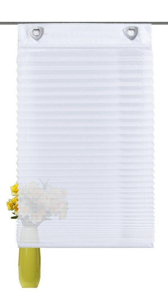 Raffrollo, Home Wohnideen, »Meniko«, mit Hakenaufhängung, ohne Bohren (1 Stück) in weiß