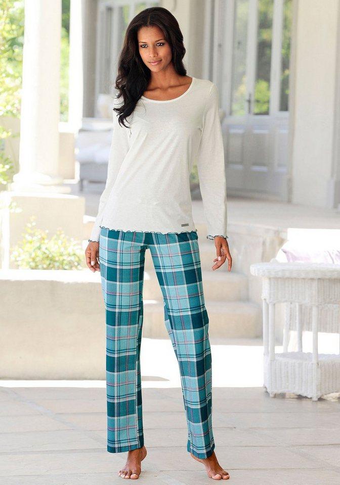 Modischer Pyjama, LASCANA, kuschelig weiche Flanellqualität in klassischem Karo-Design in ecru-petrol kariert