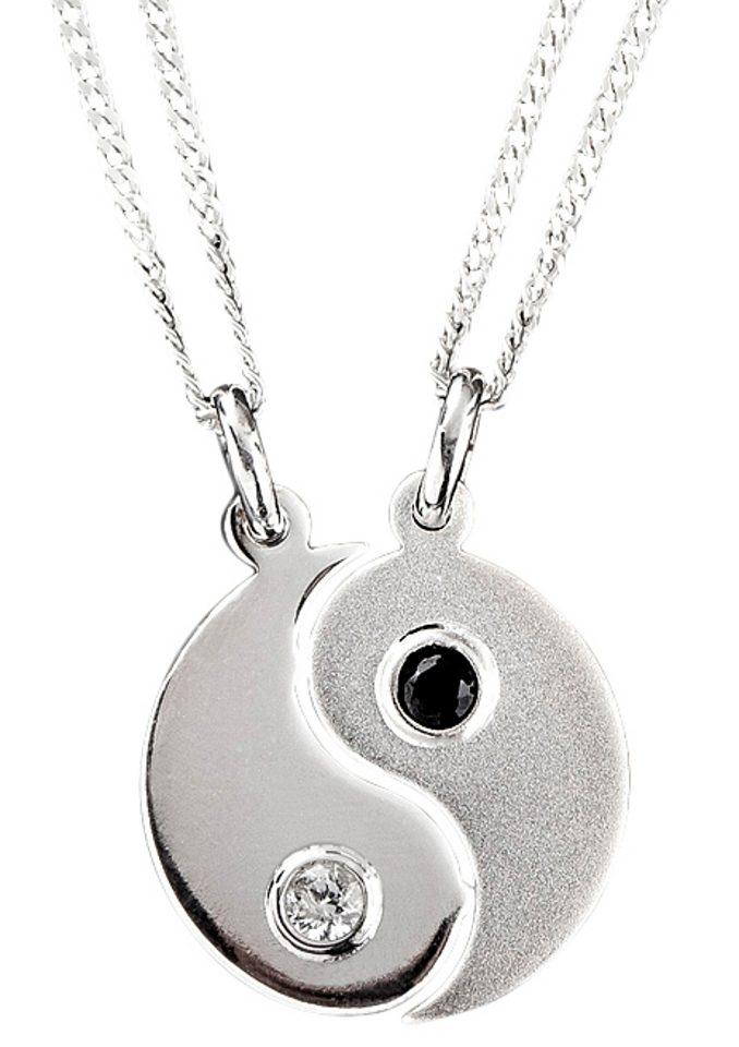 Schmuckset: Partnerschmuck bestehend aus 2 Halsketten und Anhängern »Ying Yang« (Set 4tlg.)