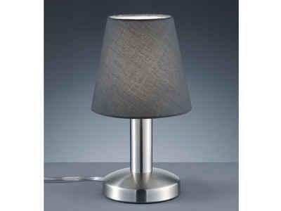 meineWunschleuchte LED Tischleuchte, Kleine Nachttisch-Lampe dimmbar per Touch-Dimmer, Lampe Fensterbank, Lampenschirme Stoff Grau, Designklassiker, mit Schnur-Schalter