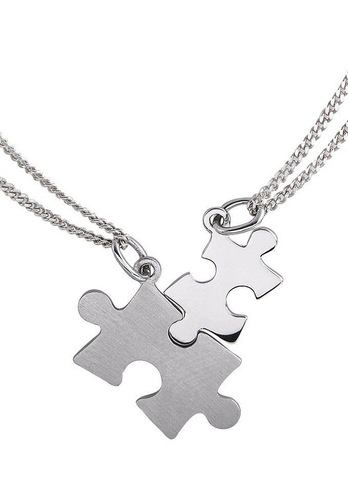 Schmuckset: Partnerschmuck bestehend aus 2 Halsketten und Anhängern »Puzzle« (Set 4tlg.) in silberfarben