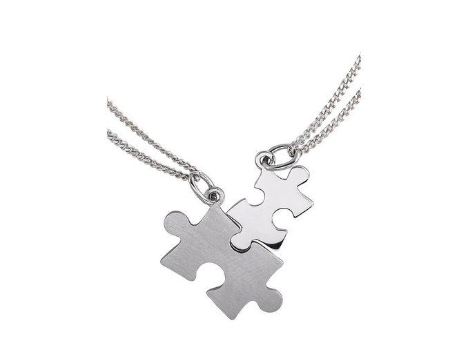 Schmuckset: Partnerschmuck bestehend aus 2 Halsketten und Anhängern »Puzzle« (Set 4tlg.)