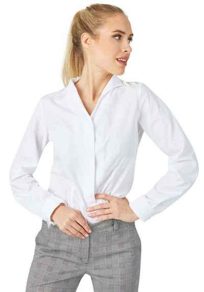 DANIEL HECHTER Elegante Damen Bluse Hochgeschlossen mit kleinem Hemdkragen