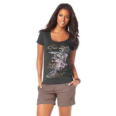 Boysen's T-Shirt mit Foliendruck und Glitzersteinen