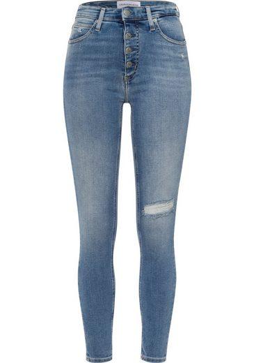 Calvin Klein Jeans Skinny-fit-Jeans »HIGH RISE SUPER SKINNY ANKLE« mit Destroyed-Elementen