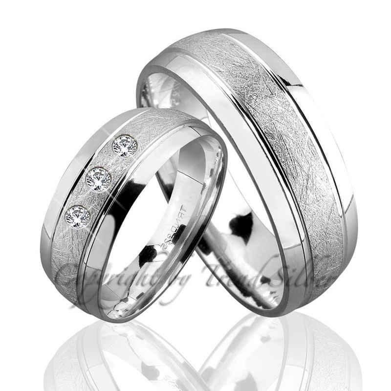 Trauringe123 Trauring mit Gravur »Trauringe aus 925er Silber mit Stein, GRAVUR GRATIS, J69-1«