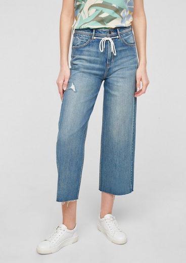 s.Oliver 7/8-Jeans »Regular: Culotte mit Tunnelzug« Waschung, Destroyes, Leder-Patch