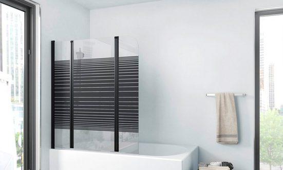 Marwell Badewannenfaltwand »BLACK LINES«, Einscheibensicherheitsglas, (3 tlg), mit Sichtschutz, Breite: 125 cm